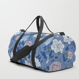 Lovely Seamless Floral Pattern With Subtle Poodles (Hand Drawn) Duffle Bag