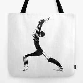 Moder black and white, minimalist ink figure yoga drawing, yoga illustration, yoga pose, yoga art Tote Bag