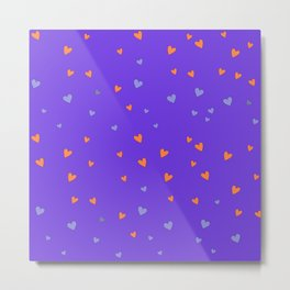 St. Valentine's Day Pattern. Lilac pattern, Violet and Orange hearts Metal Print