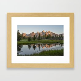 Sunrise at Schwabacher's Landing, Grand Teton National Park Framed Art Print