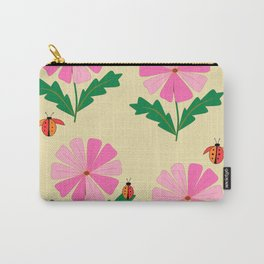 Spring Lady Bugs and Pink Flowers Carry-All Pouch