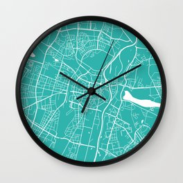 Poznan map turquoise Wall Clock