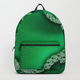Christmas Green Golden Spiral - Fractal Art Backpack