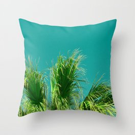 Palms on Turquoise Throw Pillow