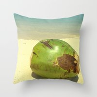 coconut wishes Throw Pillows featuring Coconut by Michael S.