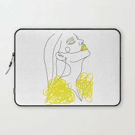 Abstract Line Illustration, Minimal Face Drawing In Lines, Printable Yellow Fashion Sketch. Laptop Sleeve