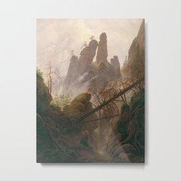 Caspar David Friedrich - Rocky ravine in the Elbe Sandstone Mountains Metal Print