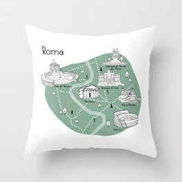 Mapping Roma - Green Throw Pillow