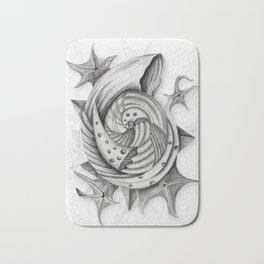 Dystopian Conch - Black & White Bath Mat