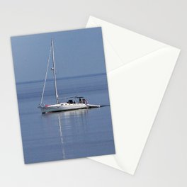 Sailboat Motors up the River Stationery Cards
