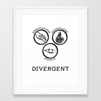 divergent Framed Art Prints featuring Divergent (Black) by Lunil
