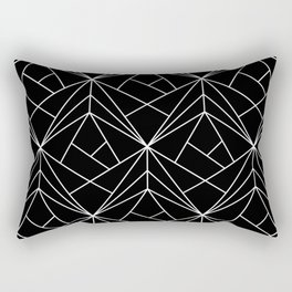 White Geometric Pattern on Black Background Rectangular Pillow
