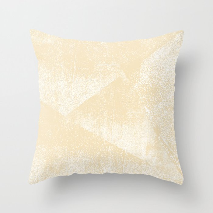 Neutral Soft Yellow and White Geometric Ink Texture Throw Pillow