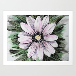 Pink Daisy mixed media painting Art Print