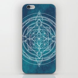White Mandala - Dusky Blue/Turquoise iPhone Skin
