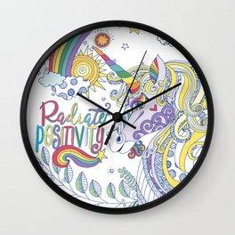 Magical Rainbow Unicorn, Radiate Positivity, Be Kind Wall Clock