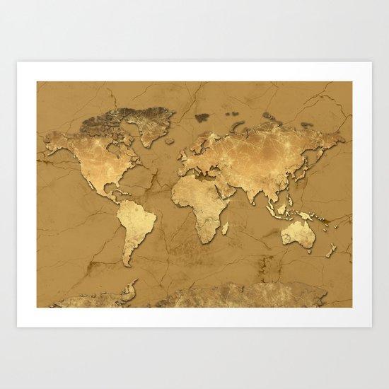 world map marble gold 3 Art Print