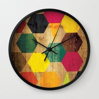 bebop Wall Clocks featuring Wood Prints by Simi Design