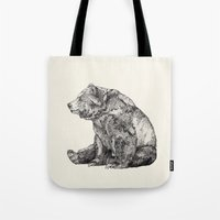 dear Tote Bags featuring Bear // Graphite by Sandra Dieckmann