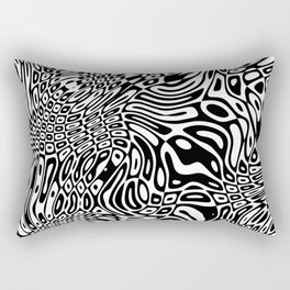 Black  and white psychedelic optical illusion Rectangular Pillow