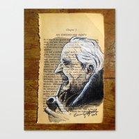 tolkien Canvas Prints featuring J.R.R. Tolkien Portrait by Gop Art