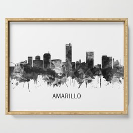 Amarillo Texas Skyline BW Serving Tray