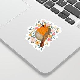 Robin Bird with flowers Sticker