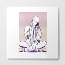 Girl skater Metal Print