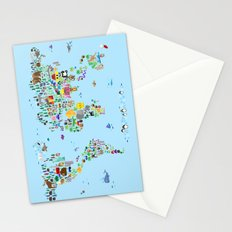 Animal Map of the World Stationery Cards