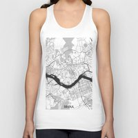 seoul Tank Tops featuring Seoul Map Gray by City Art Posters