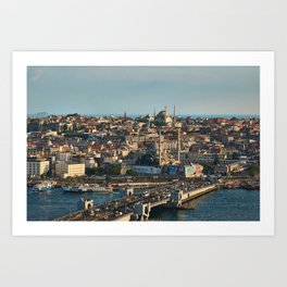Photo Istanbul Mosque Turkey bridge Houses Cities Bridges Building Art Print