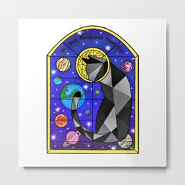 Stained Glass Cat Metal Print
