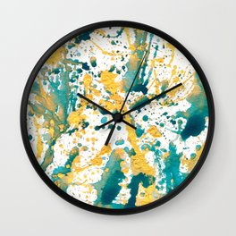 Teal and Gold Splatter Paint  Wall Clock
