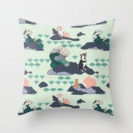 Adventure Shibas Throw Pillow