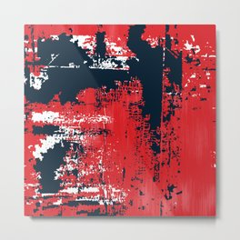 Grunge Paint Flaking Paint Dried Paint Peeling Paint Red White Blue Metal Print