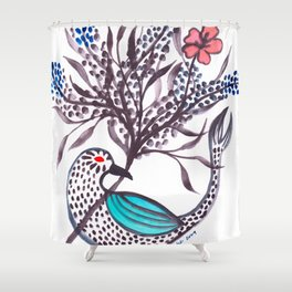 Blue-Winged Shower Curtain