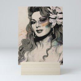 Edwige (street art sexy portrait of Edwige Fenech) Mini Art Print