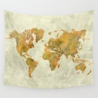 vintage map Wall Tapestries featuring  World Map Yellow Vintage by City Art Posters