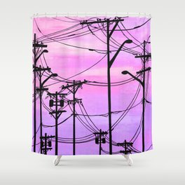 Industrial poles violet Shower Curtain
