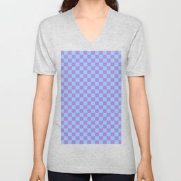 Lavender Violet and Baby Blue Checkerboard Unisex V-Neck