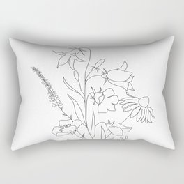 Small Wildflowers Minimalist Line Art Rectangular Pillow