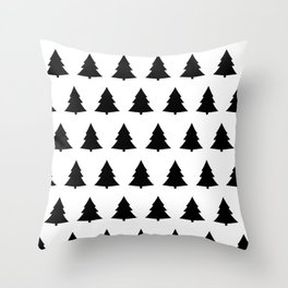 Chistmas Tree Black and White Seamless Pattern Throw Pillow