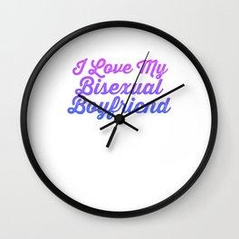 I Love My Bisexual Boyfriend Funny LGBT Bi Pride Gift Design Cool Pun Humor Wall Clock