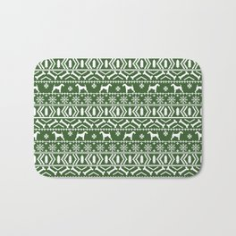 Airedale terrier fair isle silhouette christmas sweater green and white holiday dog gifts Bath Mat