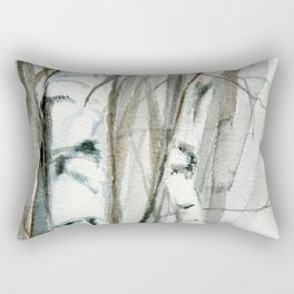 Winter Birch Trees Woodland Watercolor Original Art Print Rectangular Pillow
