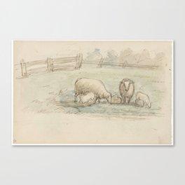 Schapen in een weide, Jozef Israëls, 1834 - 1911 Canvas Print
