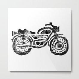 Motorcycle Linocut Block Print Metal Print