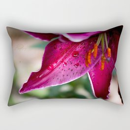 A wet Asiatic Lily Rectangular Pillow