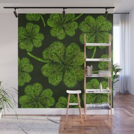 Lucky Shamrock Four-leaf Clover Splatter paint Wall Mural