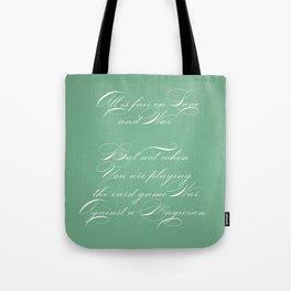 Proverbs: All is Fair Tote Bag